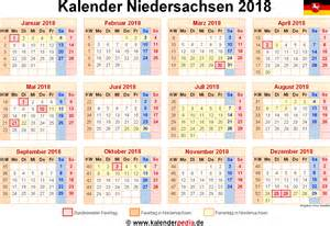 Kalender 2018 Zum Bearbeiten Kalender 2018 Niedersachsen Ferien Feiertage Word Vorlagen