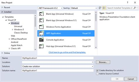 wpf menu template using visual studio templates