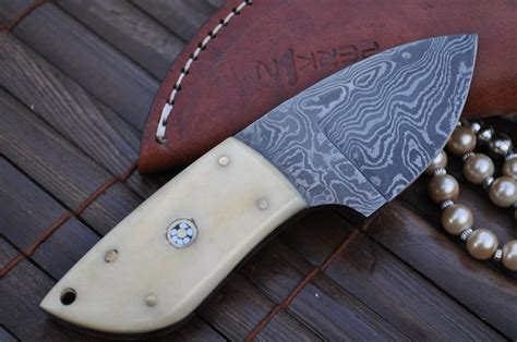 Handmade Unique - custom made damascus knife neck knife perkin