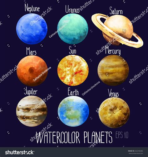 what is the color of venus watercolor planets sun mercury venus earth stock vector
