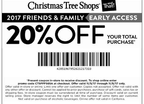 christmas tree shop coupons 20 off