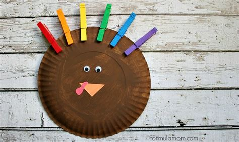 Paper Plate Pilgrim Craft - rainbow paper plate turkey craft