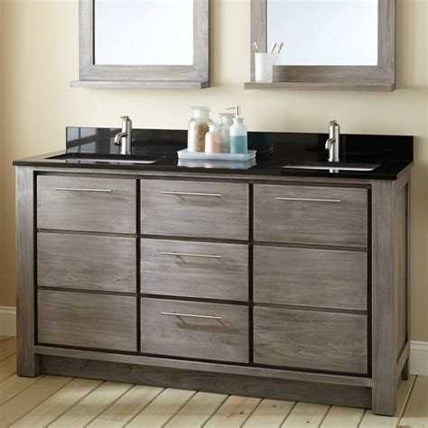 Bathroom Vanities With Two Sinks 60 Quot Venica Teak Vanity For Rectangular Undermount Sinks Gray Wash Sink