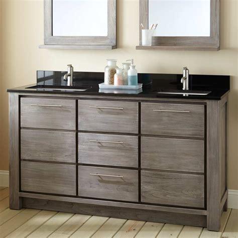 60 quot venica teak double vanity for rectangular undermount sinks gray wash double sink