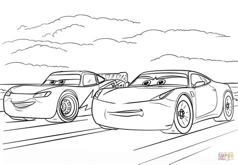 Cars 3 Sketches by Mcqueen And Ramirez From Cars 3 Coloring Page Free