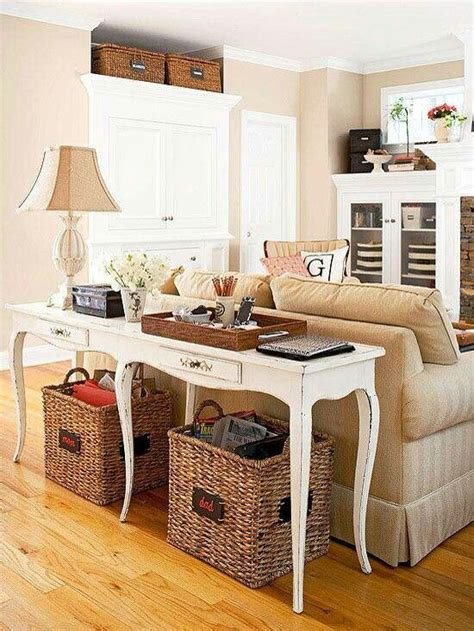 Baskets Vintage Pinterest Sofa Table With Baskets