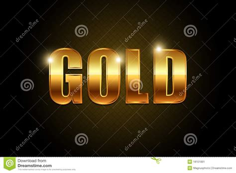 gold text stock illustration image  yellow chrome