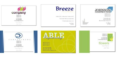 business cards exles templates free business card templates from serif