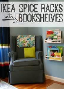 ikea spice rack turned into bookshelves for