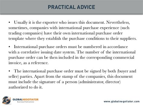international purchase order template and user guide