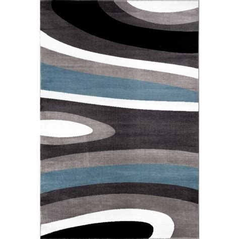 Blue Contemporary Area Rug World Rug Gallery Abstract Contemporary Modern Blue 7 Ft 10 In X 10 Ft 2 In Indoor Area Rug