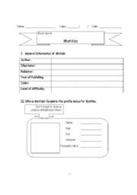 matilda book report teaching worksheets matilda
