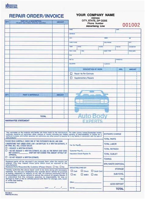 car service receipt template 4 part auto repair order invoice business