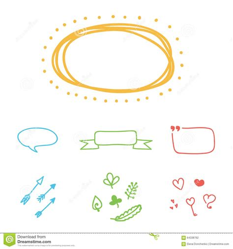 hand drawn design elements vector set of colorful hand drawn vector borders frames and