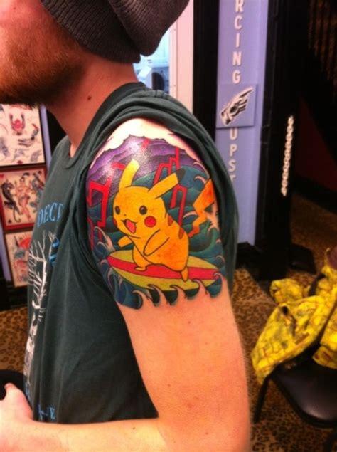 pikachu tattoos surfing pikachu tattoos
