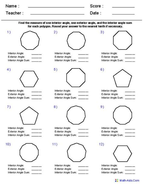 Classifying Polygons Worksheet by Angles Of Regular Polygons Worksheets Teaching