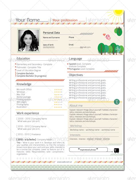 curriculum vitae colorful and clean by tatysol