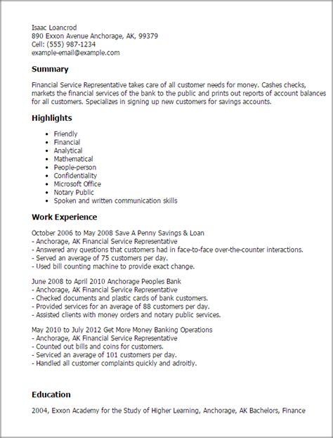 Financial Representative Cover Letter by Financial Service Representative Resume Objective 28 Images Impactful Professional