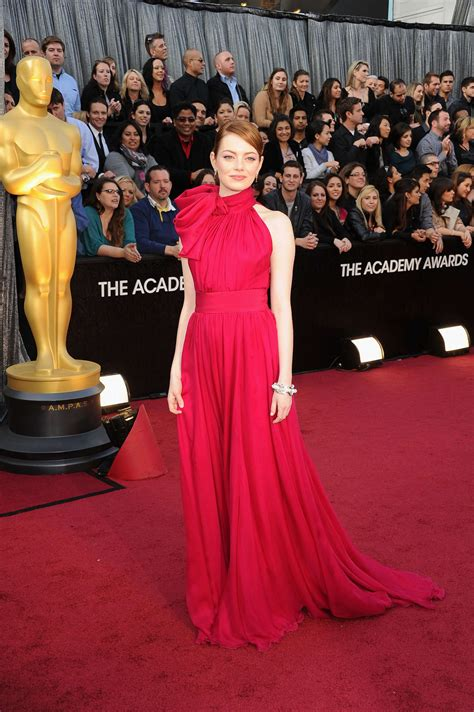 emma stone oscar dress emma stone hot in red dress at 84th academy awards in