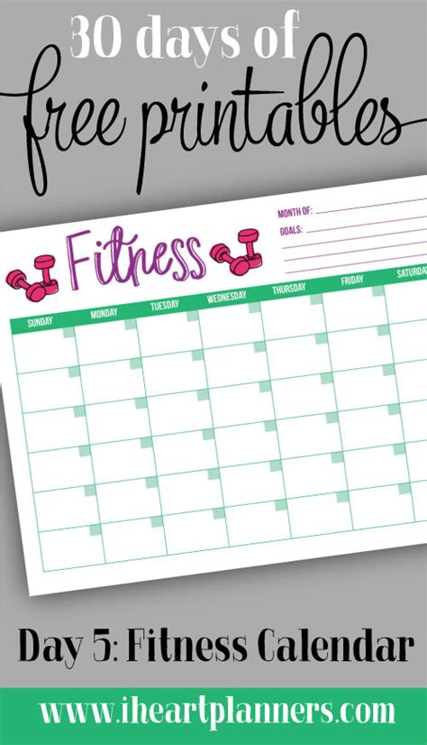 wellness chart and five day log day 5 fitness calendar i planners