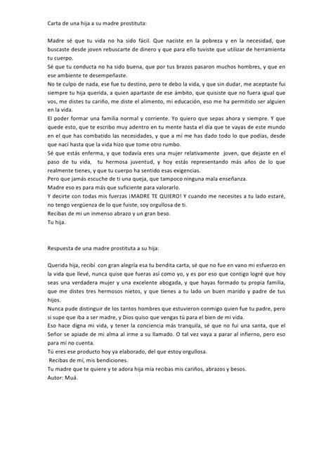 carta de una madre a una hija quinceaera carta de una hija a su madre prostituta