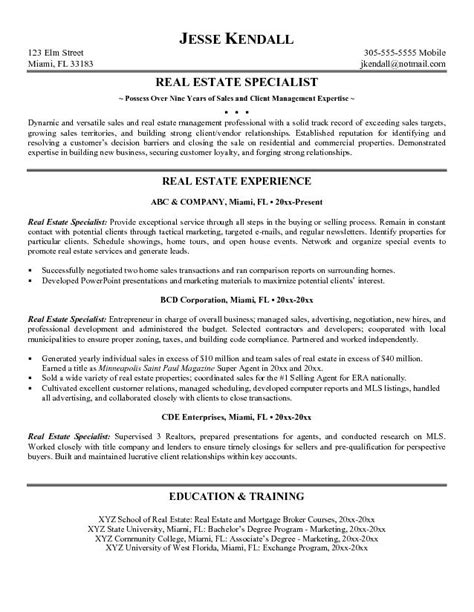 real estate resume templates exle real estate specialist resume free sle