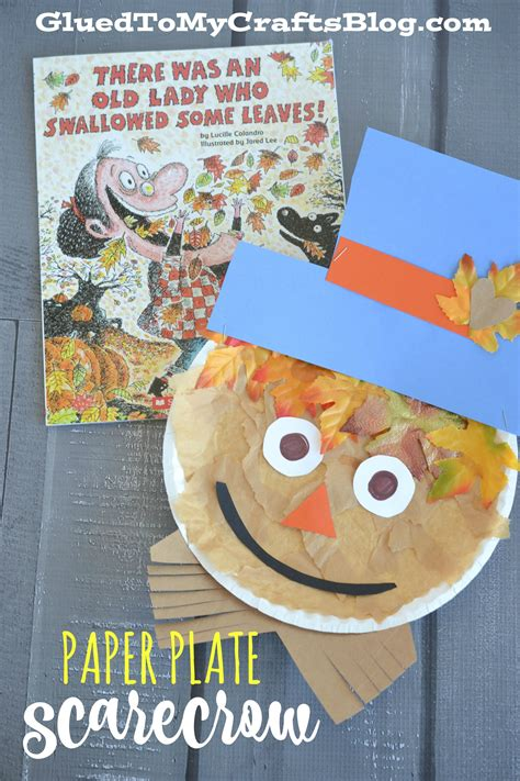 Paper Plate Scarecrow Craft - paper plate scarecrow kid craft glued to my crafts