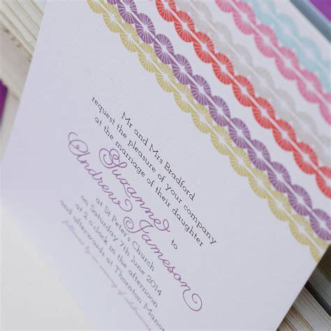 rainbow themed wedding invitations uk rainbow thread wedding invitation by gooseberrymoon