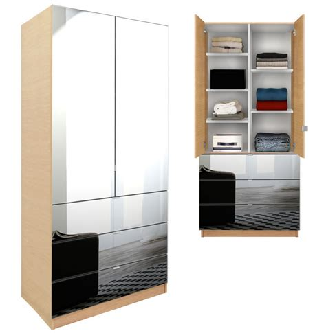 Wardrobe Armoire With Mirror by Alta Wardrobe Armoire Adjustable Shelves 3 Drawers