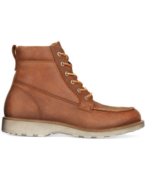 ecco boots for lyst ecco holbrook moc toe boots in brown for