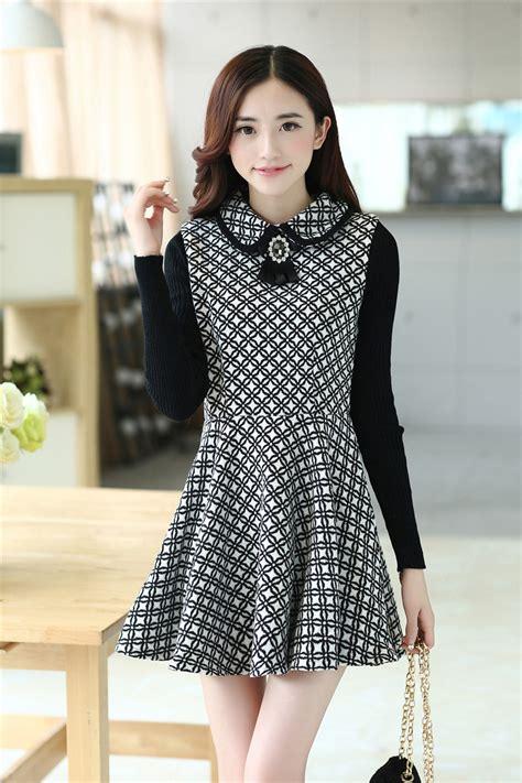 Pattern Korean Dress | korean new arrival fashion hot sale attystory long sleeve