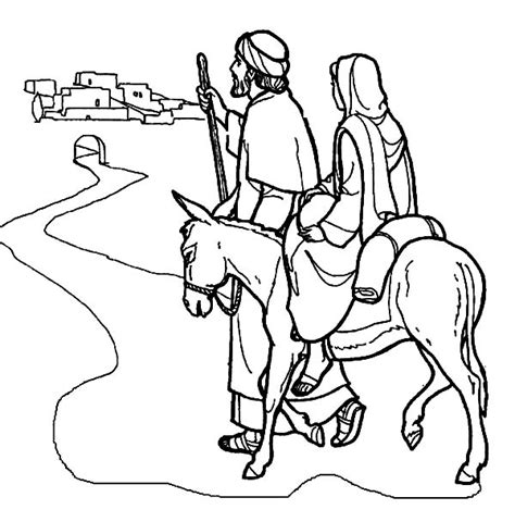 coloring pictures mary joseph mary and the donkey and joseph near bethlehem coloring