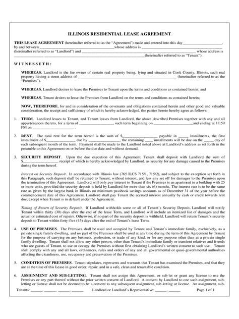 Illinois Rent And Lease Template Free Templates In Pdf Word Excel To Print Illinois Lease Agreement Template