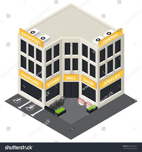 3d Exterior Home Design Free Download vector isometric shopping mall building icon stock vector