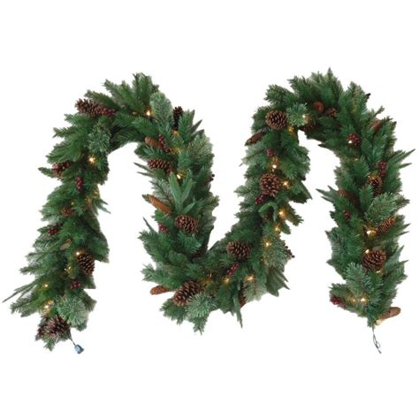 12 ft lighted garland starlite creations 12 ft pre lit led battery operated