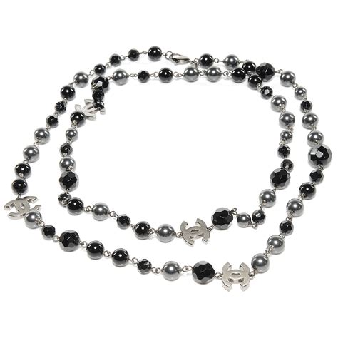chanel beaded necklace chanel pearl beaded cc necklace black 52461