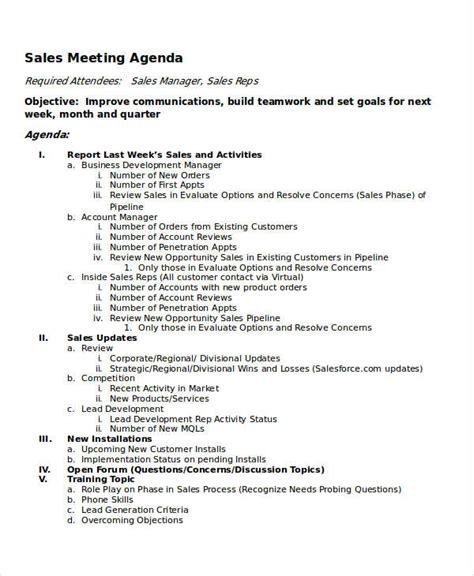 sle templates for an agenda 10 meeting agenda sles free sle exle format