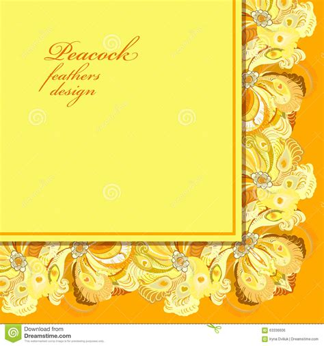 Wedding Background Design Yellow by Peacock Feathers Wedding Background Printable Vector