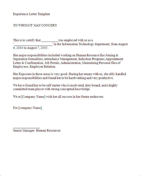 Work Experience Letter Template Experience Letter Sle Best Business Template