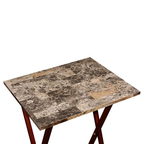 linon home decor tray table set faux marble