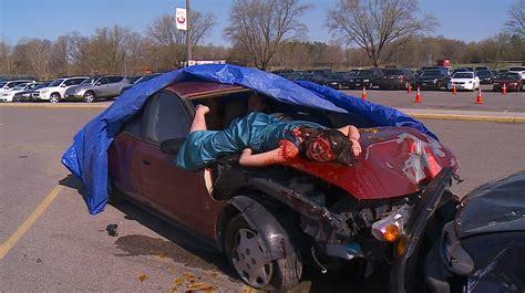 car crash metro high stages powerful mock car crash 171 wcco