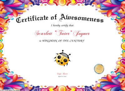 certificate of awesomeness template certificate of awesomeness