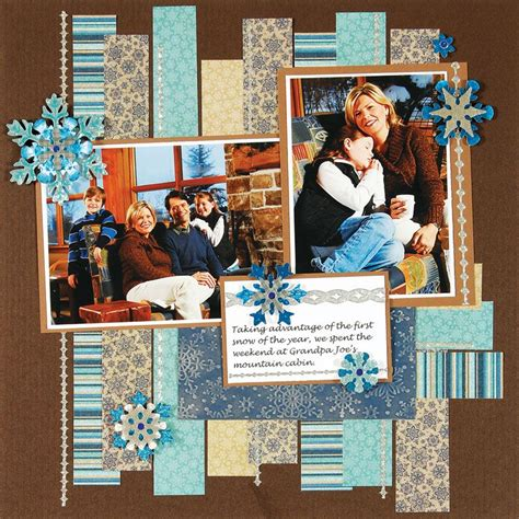 A Scrapbook Layout Of You The Mad Cropper by Like The Strips Of Paper As A Background Winter Scrapbook