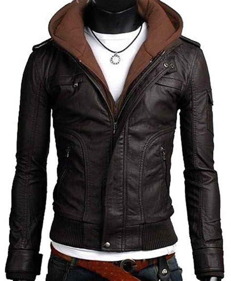 I Phone Kulit White Black leather jacket brown fabric hooded leather jacket