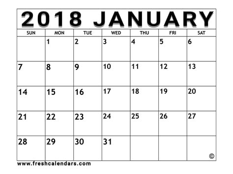 2018 calendar template free january 2018 calendar printable templates