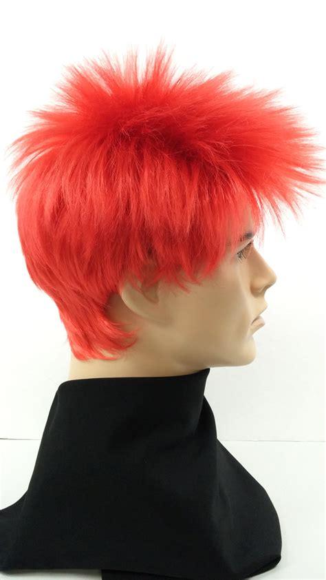spikey short wigs red short spiky mens wig punk rocker cosplay costume wig