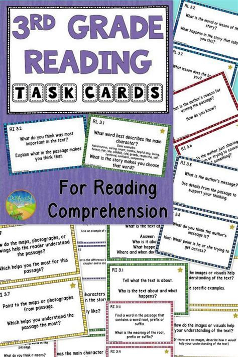 assessment for reading third edition 3rd grade reading comprehension common task cards