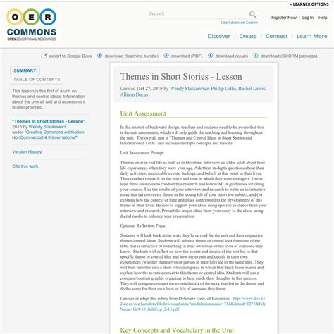 different themes of a short story themes in short stories lesson oer commons