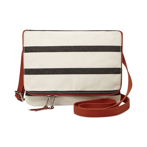 Striped Flap Crossbody Bag fossil keyper mini flap crossbody in brown navy stripe