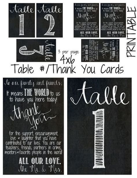 4 x 6 thank you card template printable diy 4 x 6 chalkboard theme table cards thank